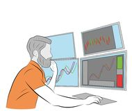 The man is sitting at the computer. many monitors. keeps track of the exchange. vector illustration. The man is sitting at the computer. many monitors. keeps royalty free illustration