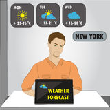 Man sitting on computer,TV weather reporter at work Royalty Free Stock Image