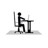 Man sitting at the computer vector. Silhouette illustration Stock Photo