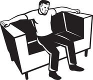Man Sitting On Couch Chair Stock Photos