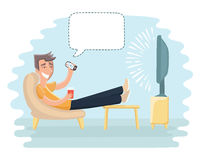 Man sitting on the couch and watching TV. Royalty Free Stock Photography