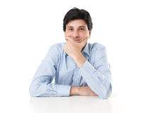 Man sitting at the dask and thinking Royalty Free Stock Photo