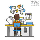 Man sitting at desktop and working on the computer Royalty Free Stock Photo