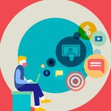 Man Sitting Down with Laptop on his Lap. Search Engine Optimization Icons on the Blank Space. Creative Background Idea. Man Sitting Down with Laptop on his Lap royalty free illustration