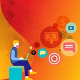 Man Sitting Down with Laptop on his Lap. Search Engine Optimization Icons on the Blank Space. Creative Background Idea. Man Sitting Down with Laptop on his Lap stock illustration