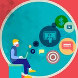 Man Sitting Down with Laptop on his Lap. Search Engine Optimization Icons on the Blank Space. Creative Background Idea. Man Sitting Down with Laptop on his Lap vector illustration