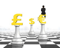 Man sitting on Euro symbol of money chess on chessboard Royalty Free Stock Image