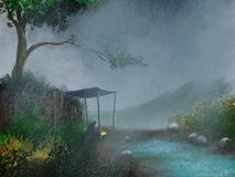 A man sitting beside a fire, taking cover from the pouring rain royalty free illustration