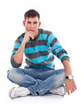 Man sitting on the floor Royalty Free Stock Photography