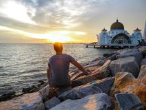 Malaysia - Man and the Strait Mosque royalty free stock image