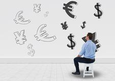 Man sitting in front of money on wall. Digital composite of man sitting in front of money on wall Royalty Free Stock Image