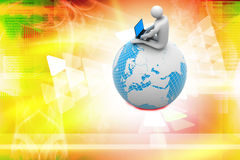 Man sitting on globe with the Laptop vector illustration