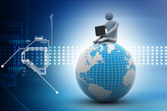 Man sitting on globe with the Laptop. On Top of the World. Stock Photos