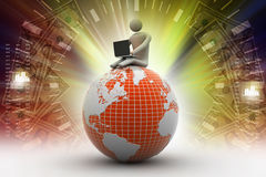 Man sitting on globe with the Laptop. On Top of the World Royalty Free Stock Photography