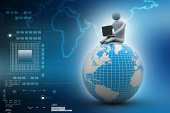 Man sitting on globe with the Laptop. On Top of the World. In color background Royalty Free Stock Photography