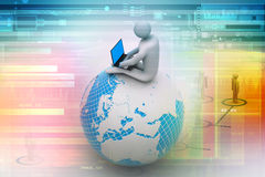 Man sitting on globe with the Laptop. On Top of the World. Stock Images