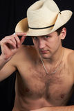 A man sitting in a hat. Stock Photo