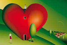 Man sitting on a heart shaped house. Illustration of a man sitting on a heart shaped house looking down at his partner Royalty Free Stock Photo