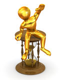 Man sitting on hourglass. 3d Very beautiful three-dimensional illustration, figure Royalty Free Stock Image