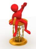 Man sitting on hourglass. 3d Very beautiful three-dimensional illustration, figure Stock Image