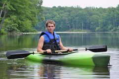 Man Sitting in Kayak Stock Image
