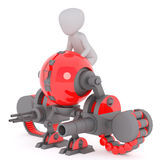 Man sitting on killing robot. Faceless 3d man riding red killing robot machine armed with huge loaded guns, isolated on white background Stock Photos