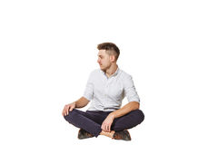 Man sitting and looking aside Royalty Free Stock Photos