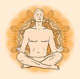 Man sitting in the lotus position doing yoga meditation Stock Photos
