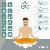 Man sitting in the lotus position. Yoga infographics and icon, vector illustration Royalty Free Stock Photo