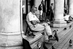 Man sitting on a market in Cracow and playing with pigeons Stock Photography