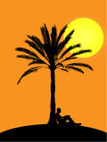 Man sitting at palm tree in sunset. Palm tree illustration with sitting man at sunset. Palm illustration is extremly detailed, all leafs are very detailed Royalty Free Stock Photo