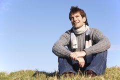 Man Sitting In Park Royalty Free Stock Photography