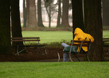 Man sitting on park bench. Homeless?. Man sitting on park bench, with head down looking sad or lonely Stock Images