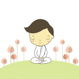 Man sitting practice the dharma. Man who honor buddhism sitting on the ground around with lotus flower Stock Photo