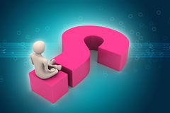 Man sitting on a question mark. Business concept. Royalty Free Stock Images
