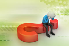 Man sitting on a question mark. Business concept. Stock Photo