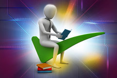 Man sitting on the right mark. 3d man sitting on the right mark Royalty Free Stock Image