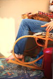 Man sitting on the rocking chair Royalty Free Stock Photo