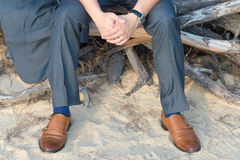 A man sitting on roots Stock Photography