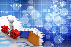 Man sitting on shop text with shopping bags Illustration Stock Images