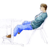 Man sitting - sketch Royalty Free Stock Photo