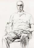 Man sitting sketch Stock Image