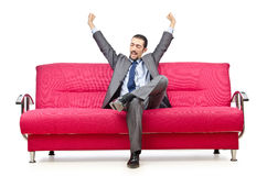 Man sitting on the sofa Royalty Free Stock Images