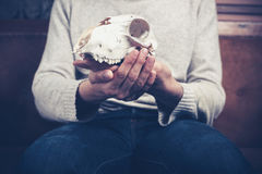 Man sitting on sofa with a skull in his hands Stock Photos