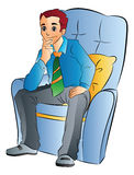 Man Sitting on a Soft Chair, illustration Stock Images
