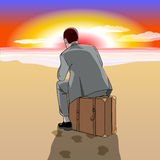 Man sitting on suitcase at the beach. Beach. Sunrise or sunset. A man in a business suit sitting on a suitcase at the beach. Vector illustration Stock Photos