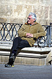 Man sitting in the sun 14 Stock Photo
