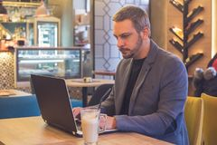 Businessman working in laptop in cafe royalty free stock image