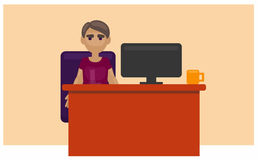 Man sitting at the table. info-graphics royalty free illustration