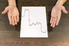 Man sitting at table. There are sheet of paper with a trading chart on the table. Misunderstanding gesture with hands. Concept pho royalty free stock images